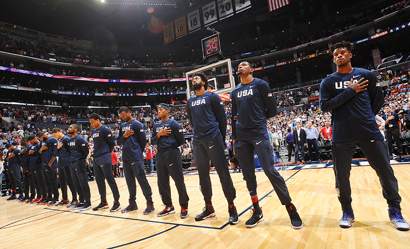 LOS ANGELES, CA - JULY 24:  The USA Basketball Men's National Team stands for the national anthem before the game against China on July 24, 2016 at STAPLES Center in Los Angeles, California. NOTE TO USER: User expressly acknowledges and agrees that, by downloading and/or using this Photograph, user is consenting to the terms and conditions of the Getty Images License Agreement. Mandatory Copyright Notice: Copyright 2016 NBAE (Photo by Juan Ocampo/NBAE via Getty Images)